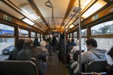 interior of historical yellow tram