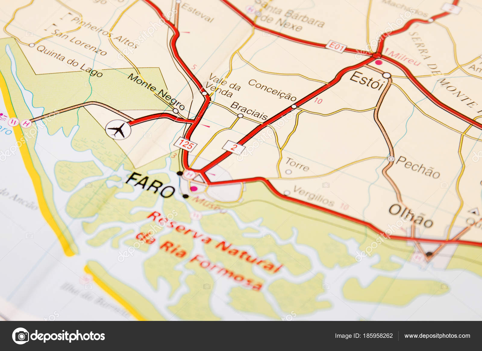 close up of road map detail of faro city in algarve portugal photo by membio