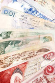 Velmi zblízka zastaralé bankovek detailů