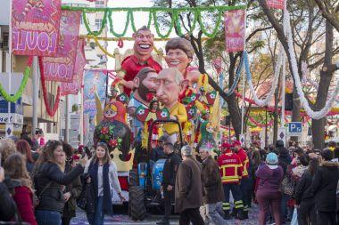 LOULE, PORTUGAL - FEB 2018: Colorful Carnival (Carnaval) Parade