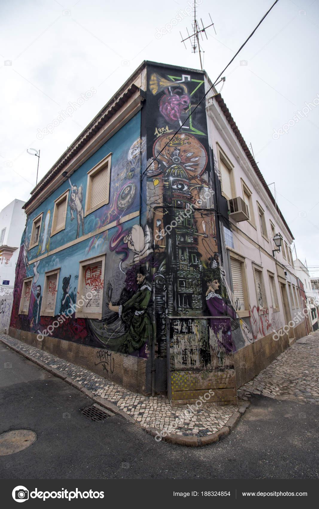 Faro Portugalsko Brezna 2018 Graffiti Stare Budove Pokryte Coloful