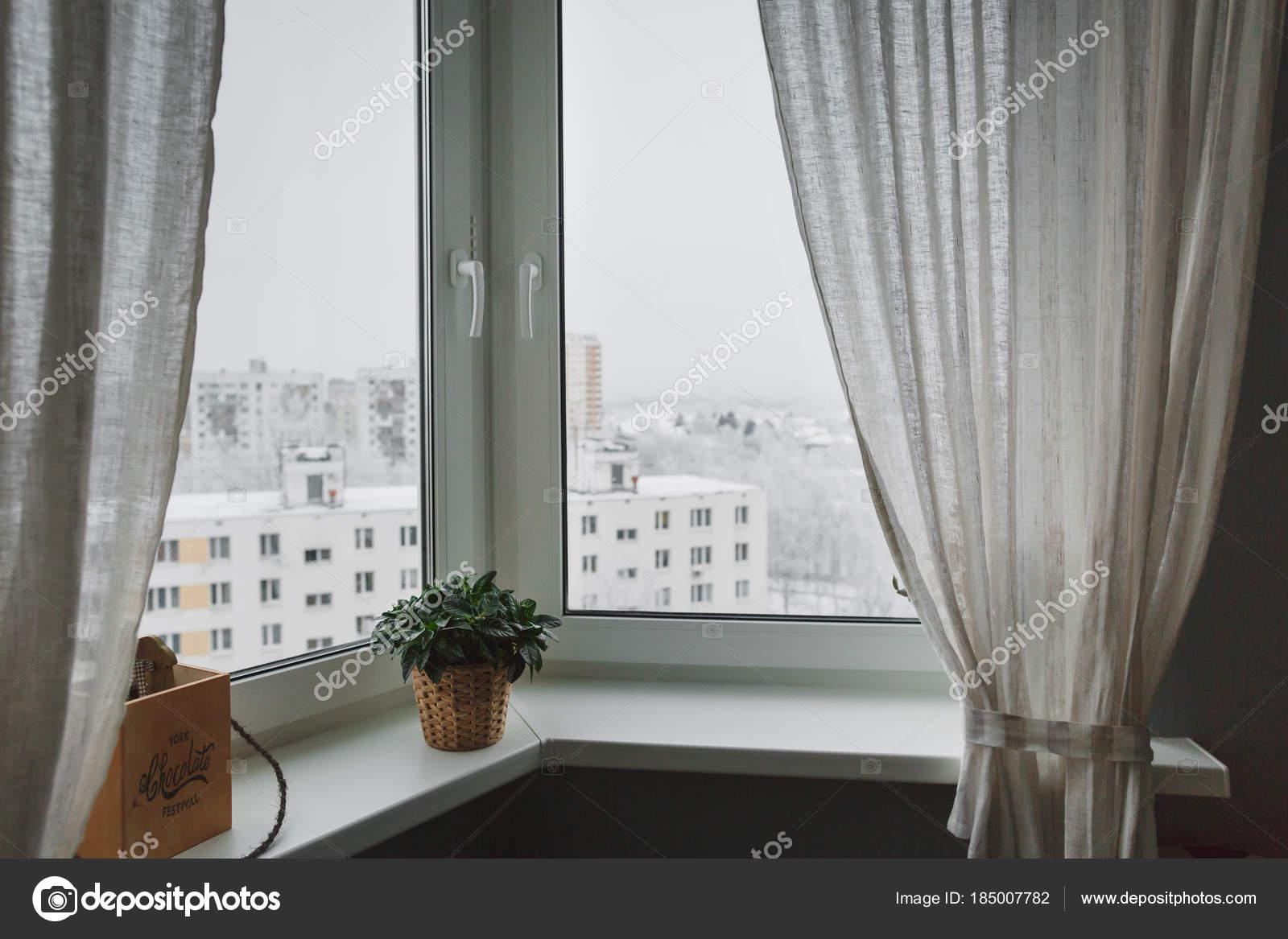 winter landschap buiten het raam met gordijnen vensterbank groene kamerplant stockfoto