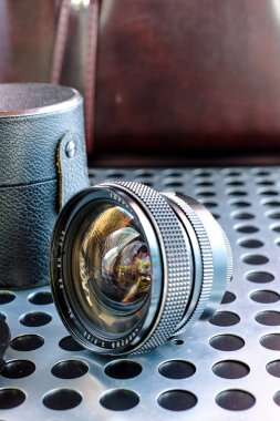 Vintage wide angle manual focus photographic camera lens SLR