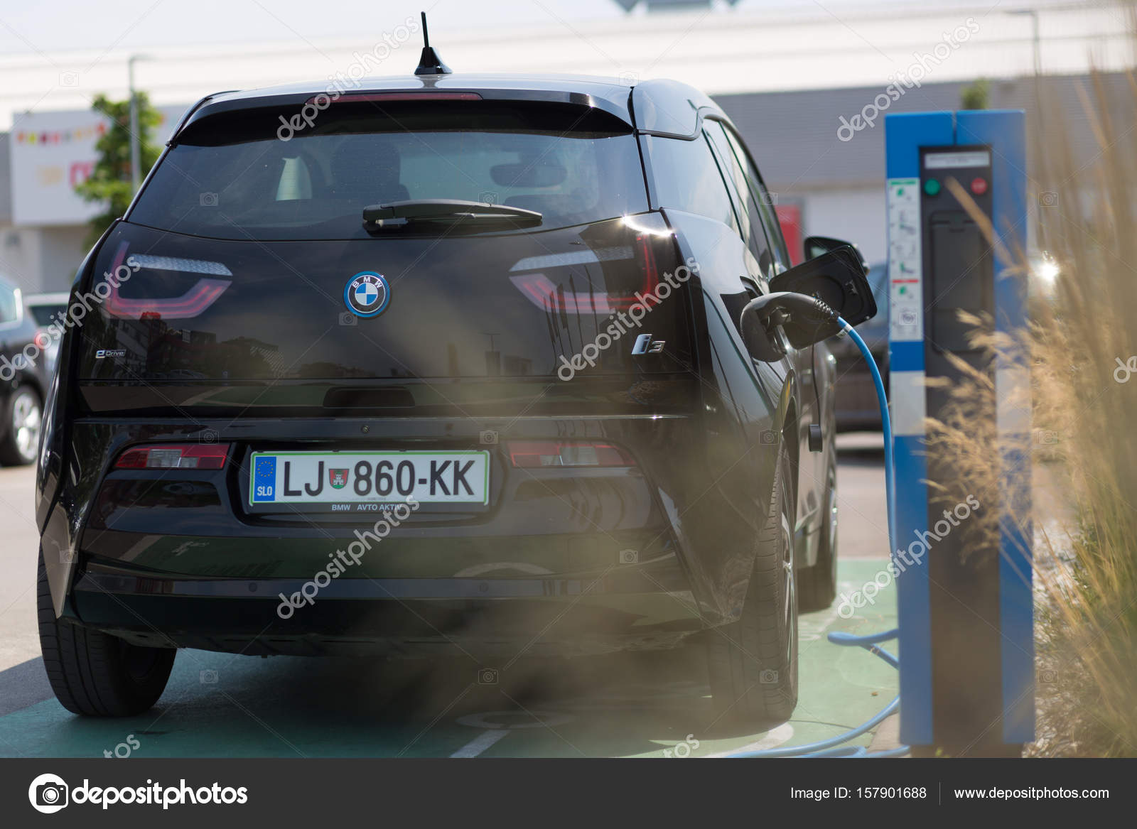 I3 Bmw Electric Car Being Charged At Electric Car Charging Station