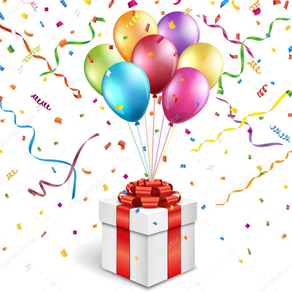 Scatola regalo con palloncini colorati vettoriali stock - Immagine con palloncini ...