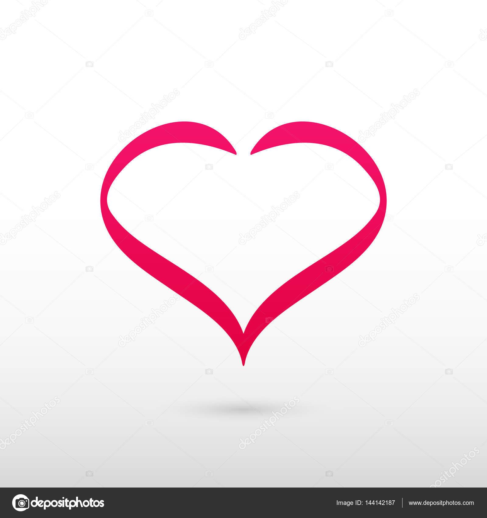 Symbole de coeur rouge  Logo vectoriel isolé sur fond