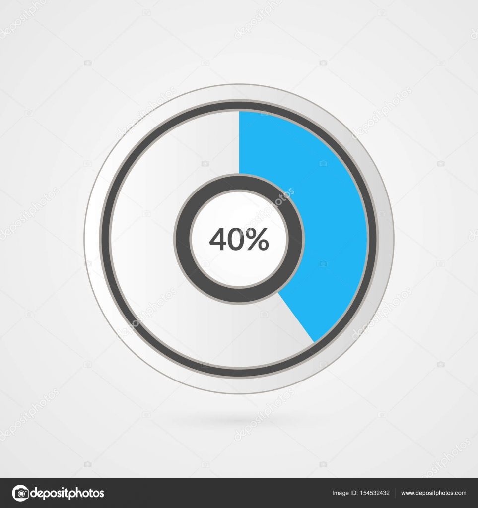 40 percent blue grey and white pie chart percentage vector 40 percent blue grey and white pie chart percentage vector infographics forty circle diagram ccuart Image collections