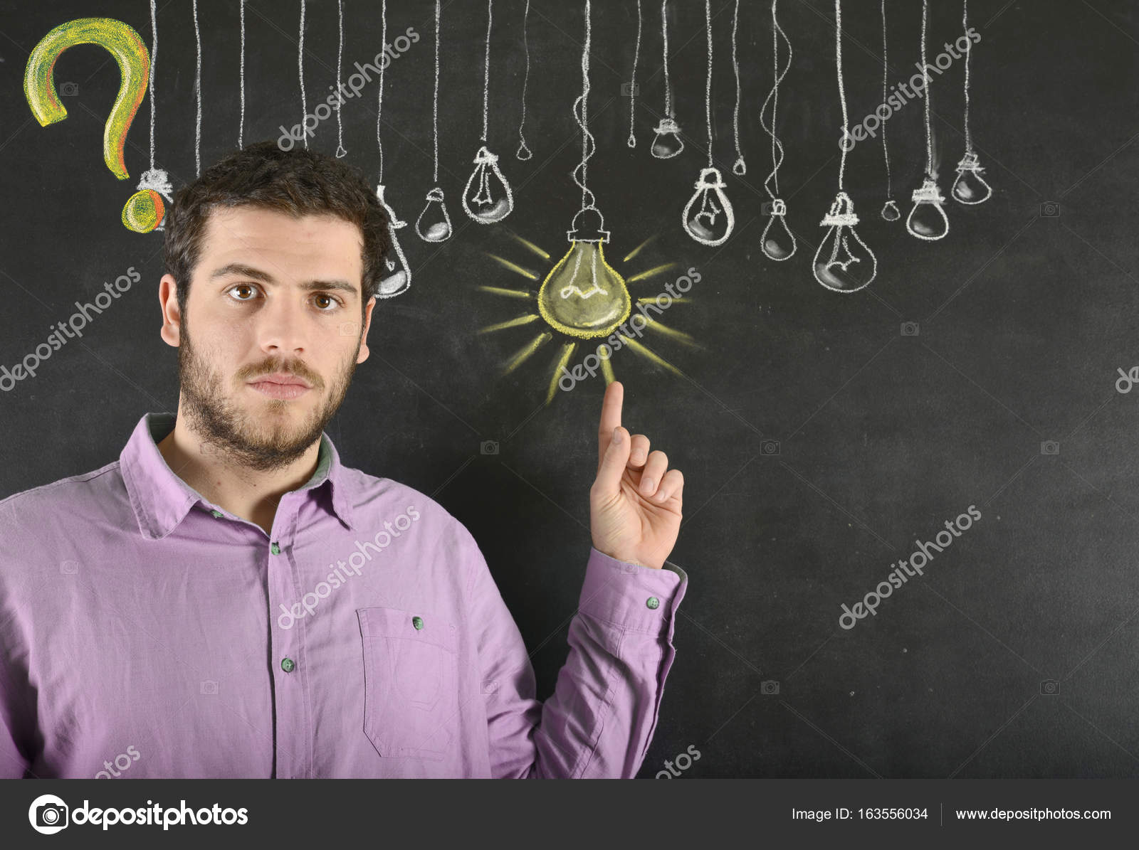 Man And Big Idea Light Bulb Stock Photo