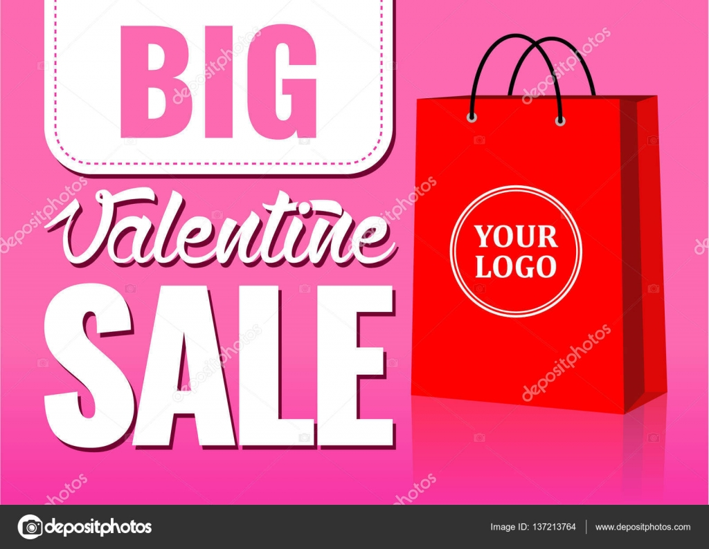 dc497e95d3 valentine day big sale sign with paper bag for stickers