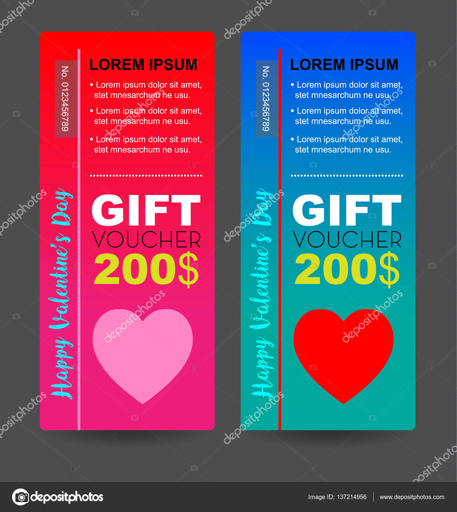gift voucher for valentine day with red and pink heart for printing