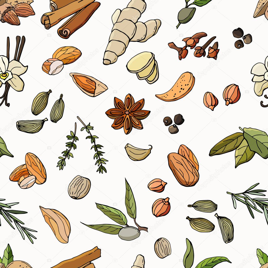 Seamless Pattern Of Spices Vector Cartoon Illustration Stock Illustration White Background Isolation Design For Wallpaper Kitchen Fabric Textile Packaging Backgrounds Premium Vector In Adobe Illustrator Ai Ai Format Encapsulated