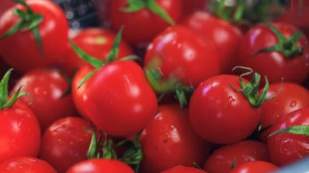 Close-Up Falling Frische Tomate (Gemüse) in einem Korb mit Tomaten. (Roter Drache, Zeitlupe, Filmaufnahmen in filmischer Qualität).