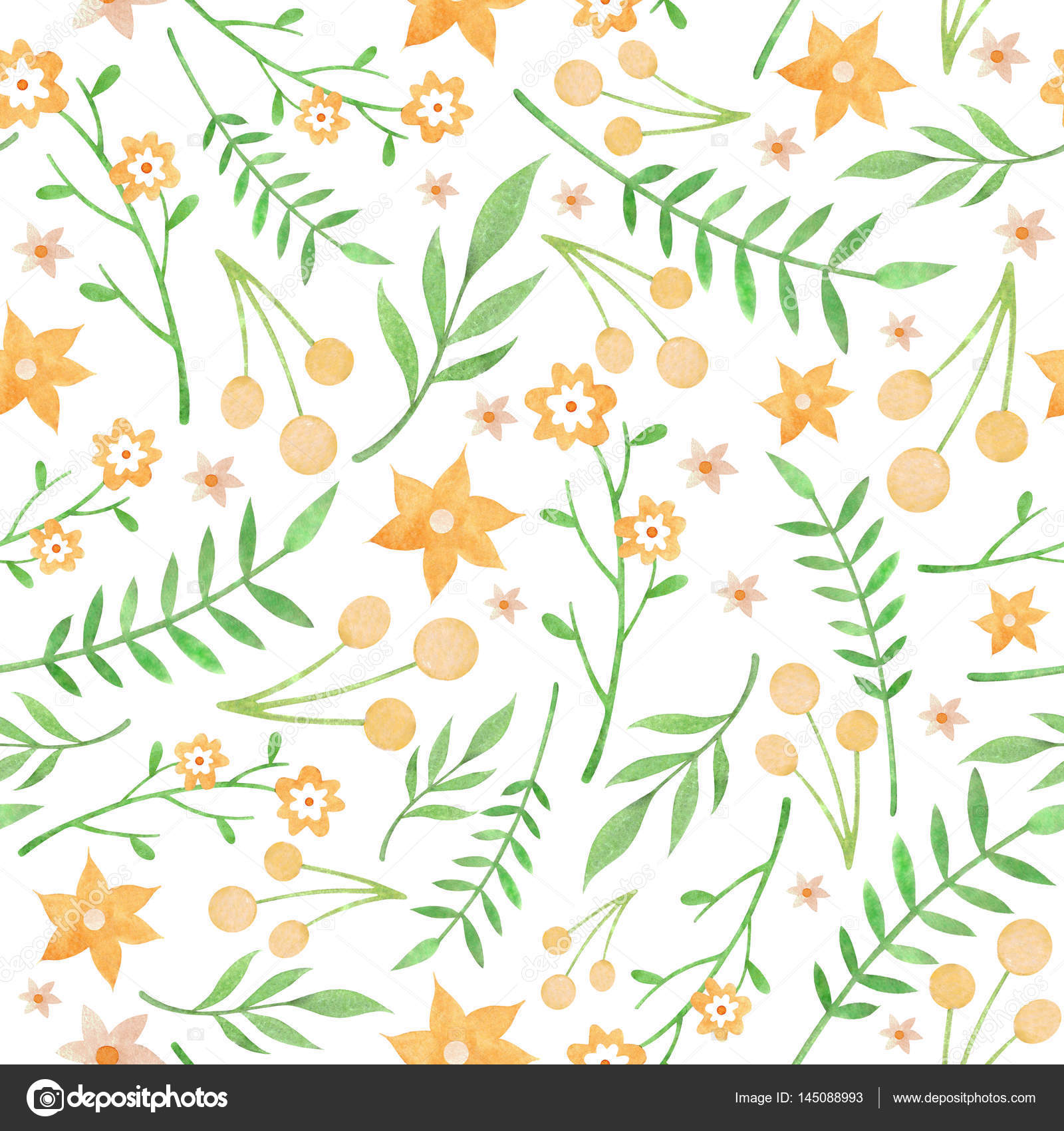 Watercolor Floral Pattern With Yellow Flowers On White Background