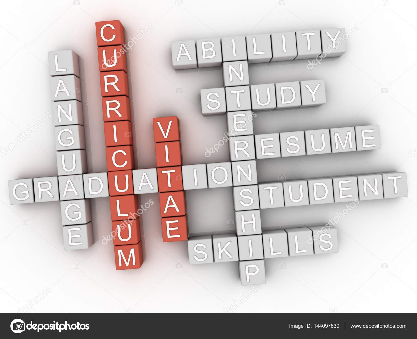 3D concepto de Curriculum Vitae word cloud — Fotos de Stock ...