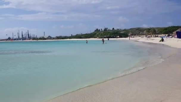 ARUBA FEB 8: Pristine Baby Beach in Aruba on Feb 8, 2018. It has soft white sand and has been rated one of the best beaches in the world.