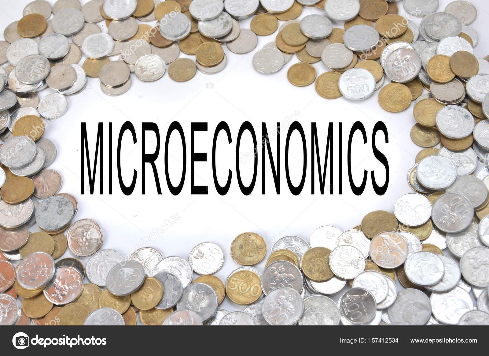 Mikroökonomie Wort Auf Weiß Mit Rahmung Indonesischen Münzen Geld ...