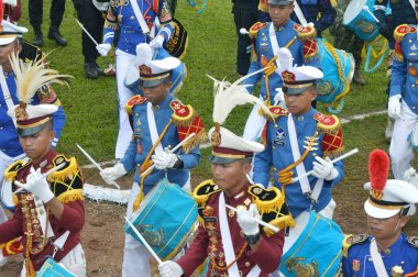 TARAKAN, INDONESIA - APRIL ,20, 2017, : Drumband appearances by Cadets of the Armed Forces Academy and the Academy of Domestic Government at Tarakan Indonesia
