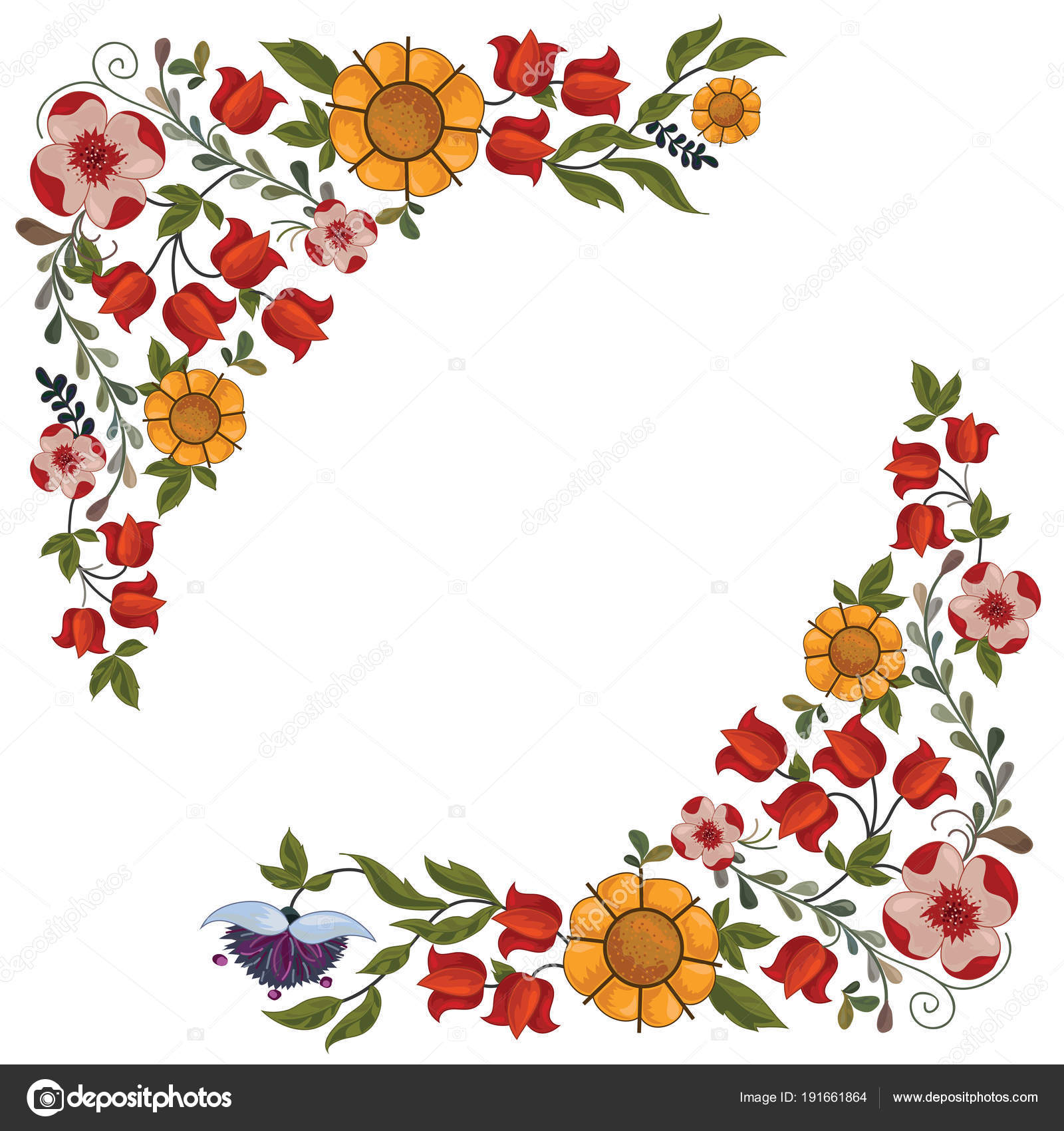 Decorative Floral Border With Spring Flowers Stock Vector