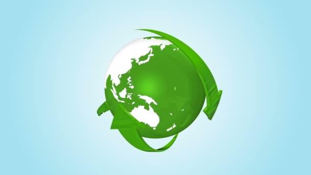 drehbare gläserne Erde Planet Globus und Pfeile