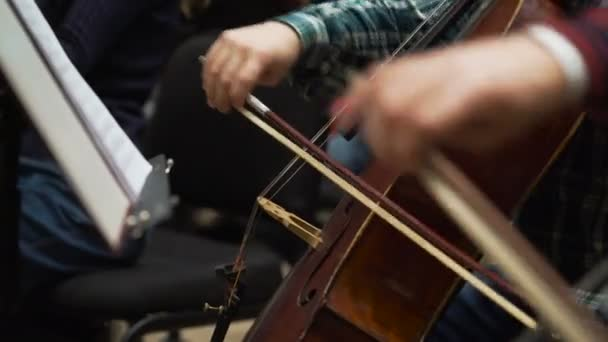 Musician playing violin on the symphony hall. Close up