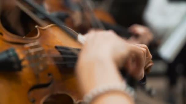 Szimfonikus koncert, egy ember, a cselló, játszott kéz közelről