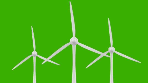 Loop-Windkraft-Antriebstechnik. erneuerbare Energien. Grüner Hintergrund für Chroma-key