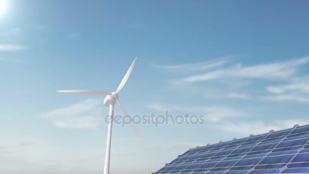 Solární panely a větrné turbíny. Mobilní panely větrné energie, zelená jasné energie