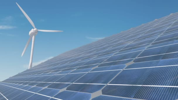 Solar panels used to generate electricity from sunlight against clouds and sky