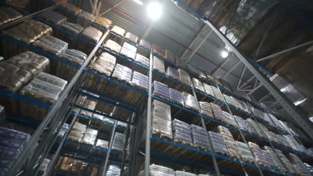 Camera moves up on shelves of cardboard boxes inside a storage warehouse