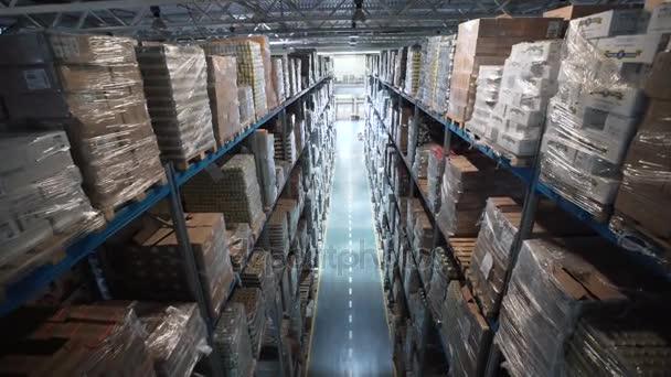 Fotoaparát, pohybující se mezi palety s objednané zboží a materiálu ve skladu