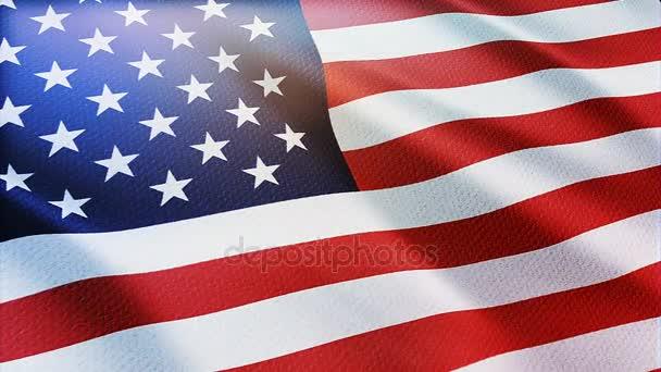 Bezproblémové Usa vlajka mávala ve větru podrobné textilie textura. Americká vlajka mávání