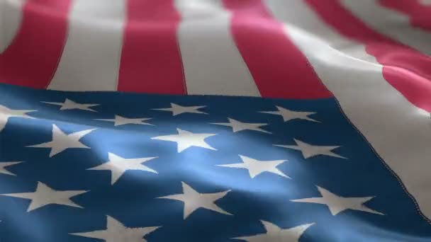 Flag of the USA slowly waving in the wind. detailed fabric texture