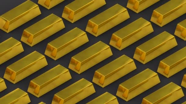 Zlaté cihly a bohatství. Nepředstavitelné bohatství. loopable pohyblivé hromádky Zlatých cihel