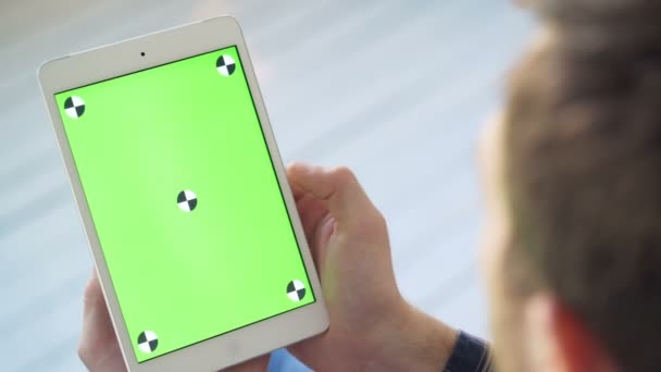 Touch screen on white tablet green screen. Finger Moving Swiping smart PC