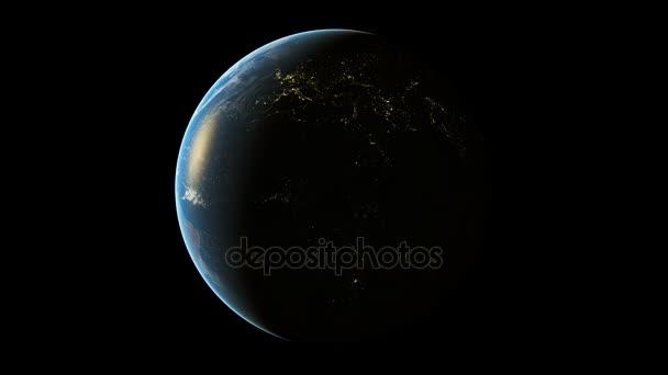 3D animace rotace země. Smyčky animace pozadí realistické planety