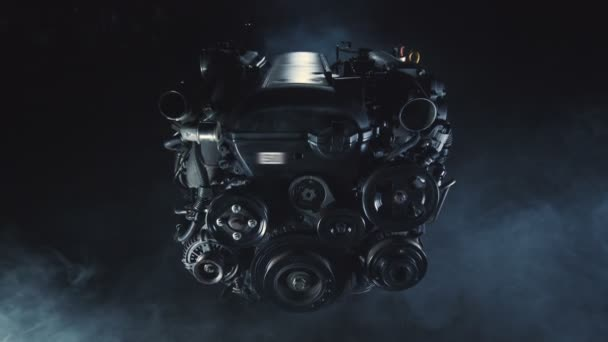 Engine of a cargo logistic car is being repaired in a modern auto workshop