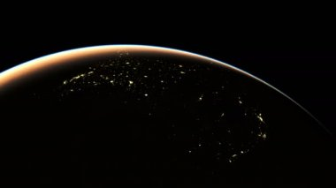 Amazing Sunrise over America seen from Space Realistic 3D Animation Background