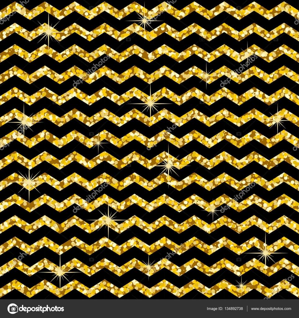 Im Zick-Zack Muster. Klassisches Goldglitter Winkelmuster. Goldene ...