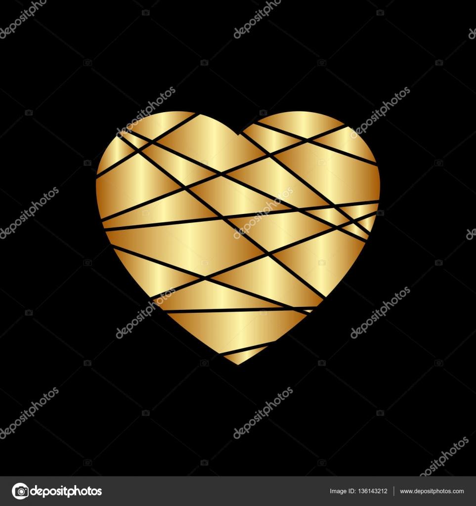 Gold Herz Symbol Goldenen Glitzer Silhouette Blechschild