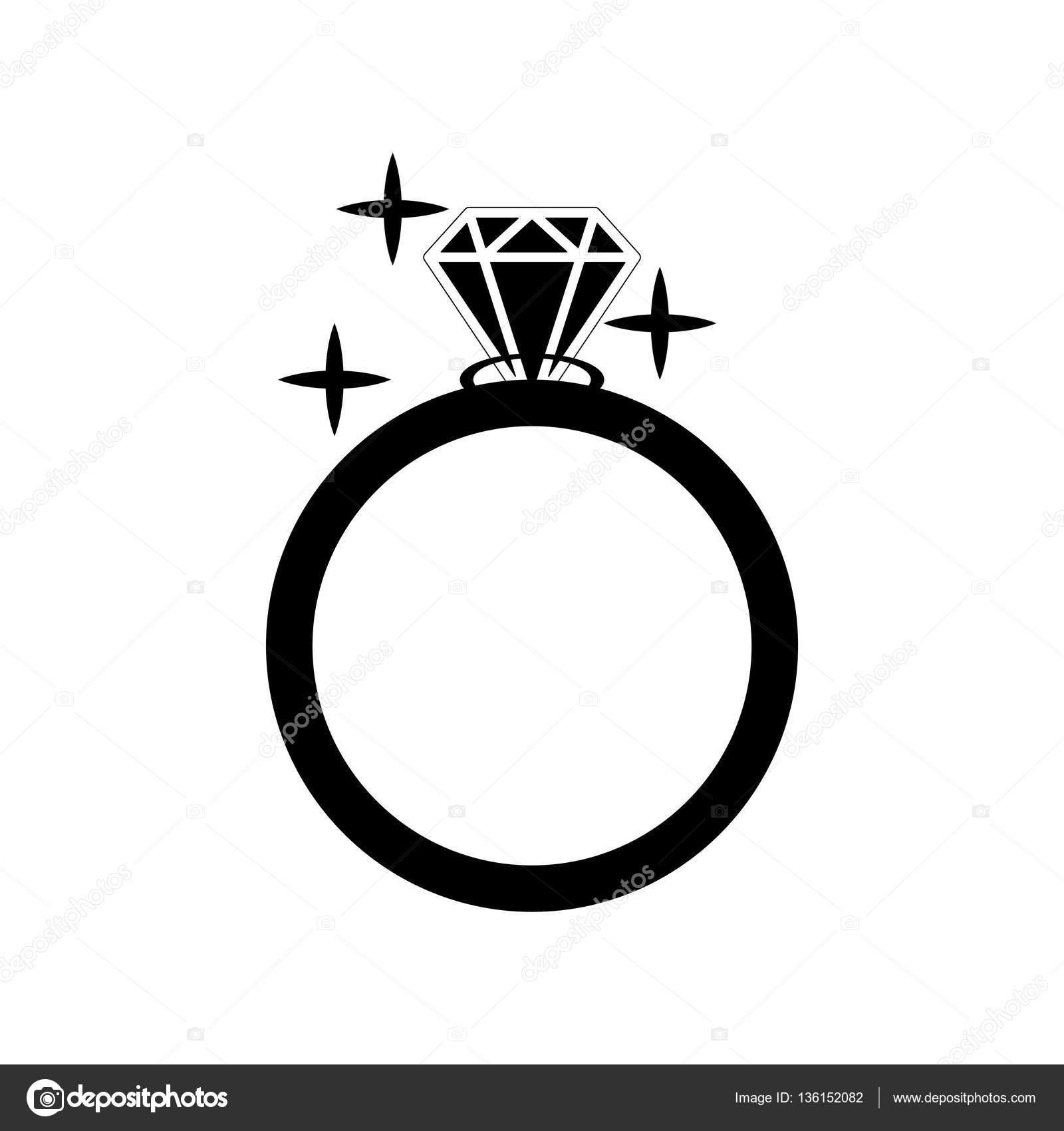 Ícone De Vetor Do Anel De Noivado De Diamante. Ilustração