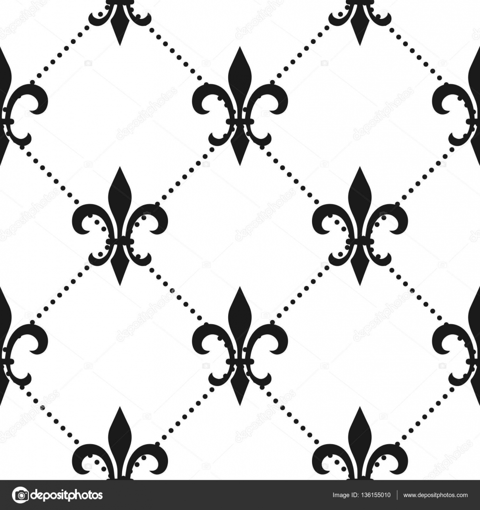 golden fleur de lis seamless pattern vector illustration black