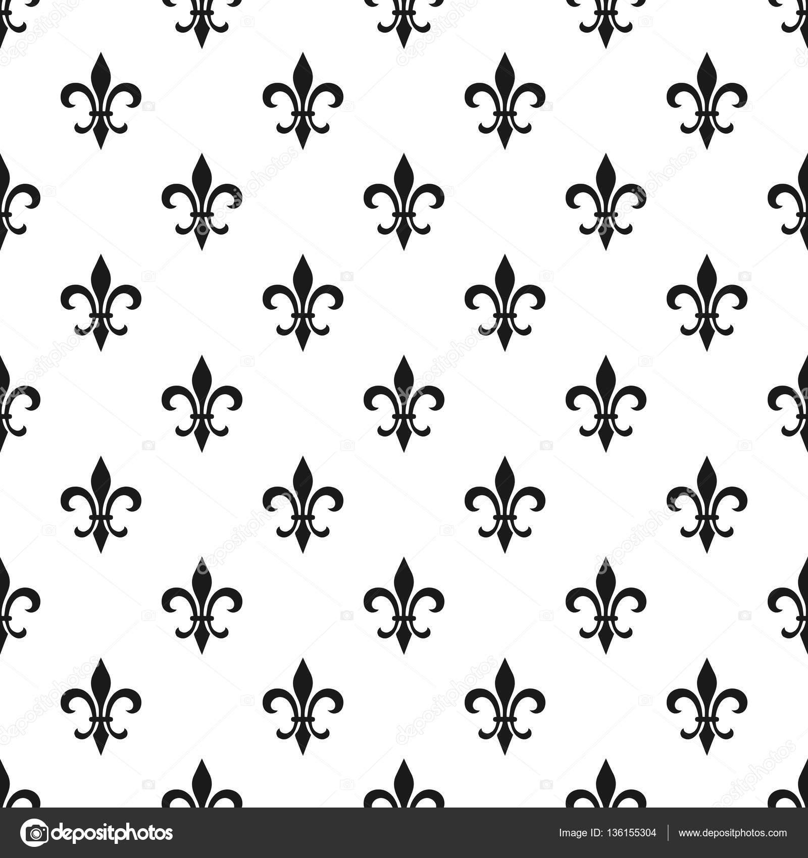 golden fleur de lis seamless pattern vector illustration black
