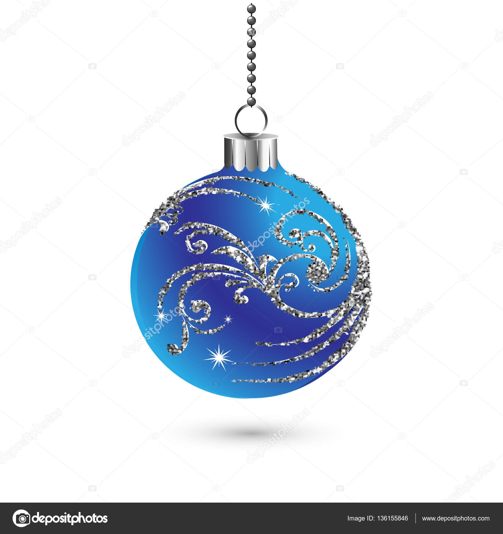 Christmas ball decoration with silver glitter. Happy New Year bauble ...