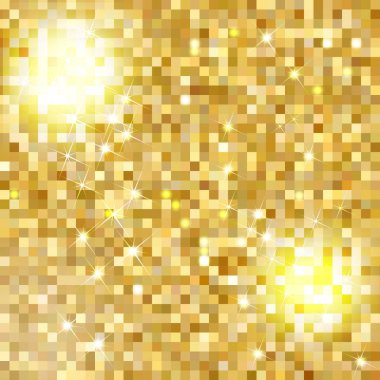 Glittering Gold Texture for your design. Seamless vector pattern in the form of a pebble like golden dust. Golden metallic small figures. Geometric seamless pattern. Vector illustration.
