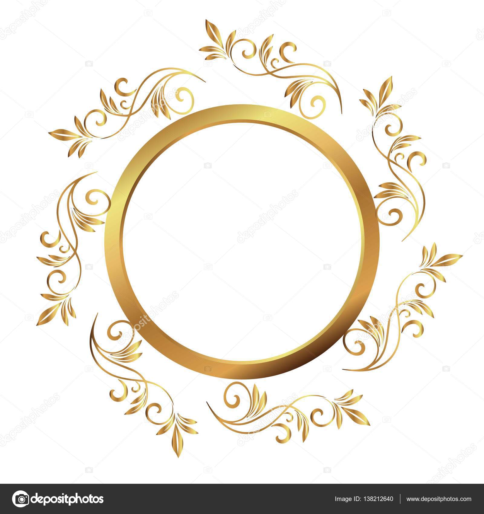 Vintage frame. Circular baroque pattern. Round floral ornament ...