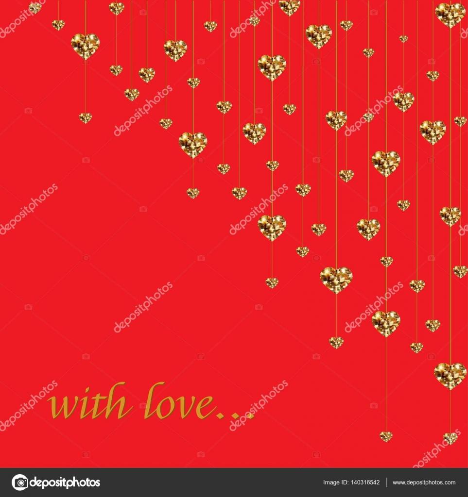 gold glitter valentine hearts on red background luxury elegant