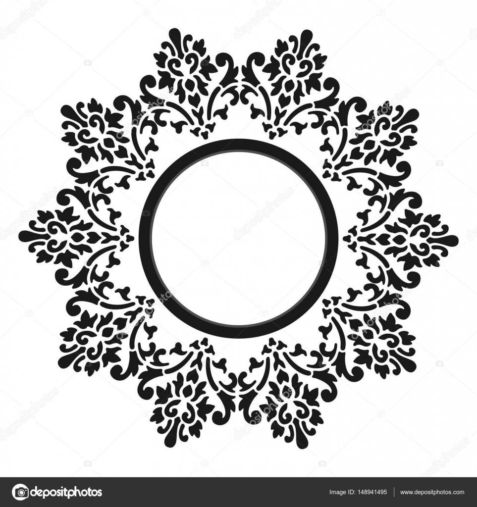 Marco de época. Circular patrón barroco. Ornamento floral redondo ...