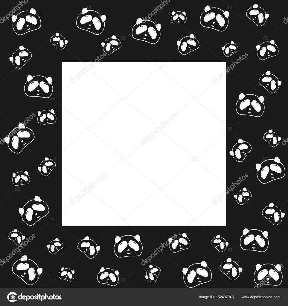 Lindo oso Panda. Fondo de marco diseño, blanco y negro. Ilustración ...