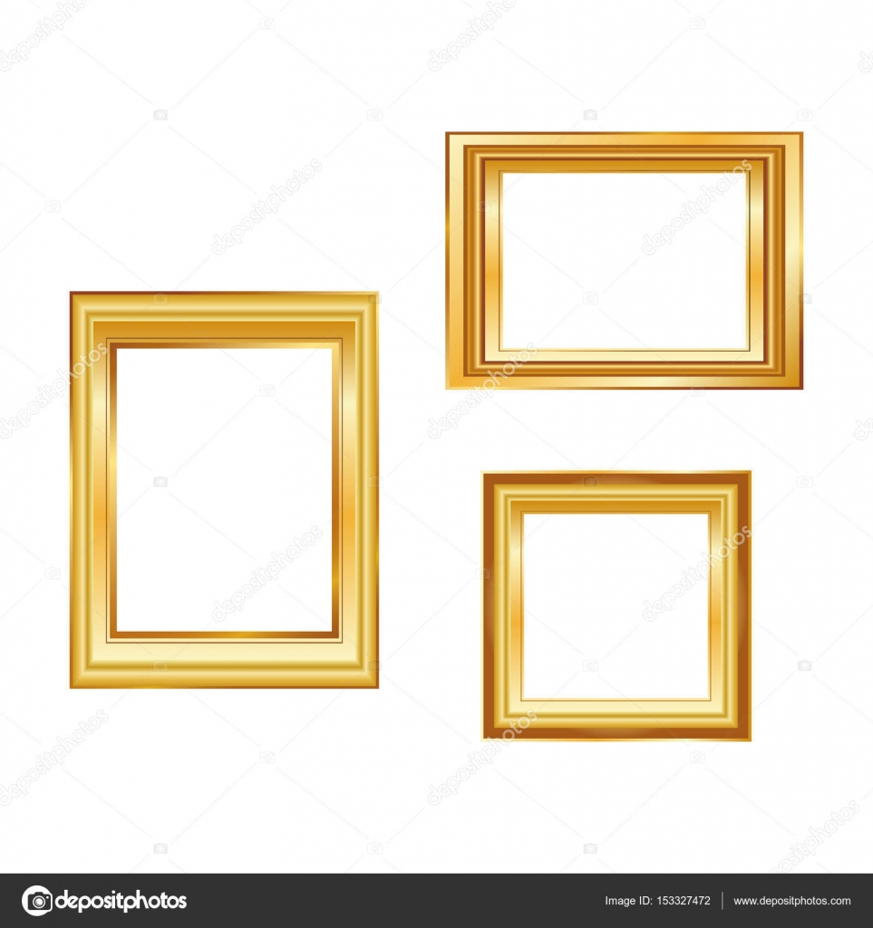 set of golden frame isolated on white background classic style