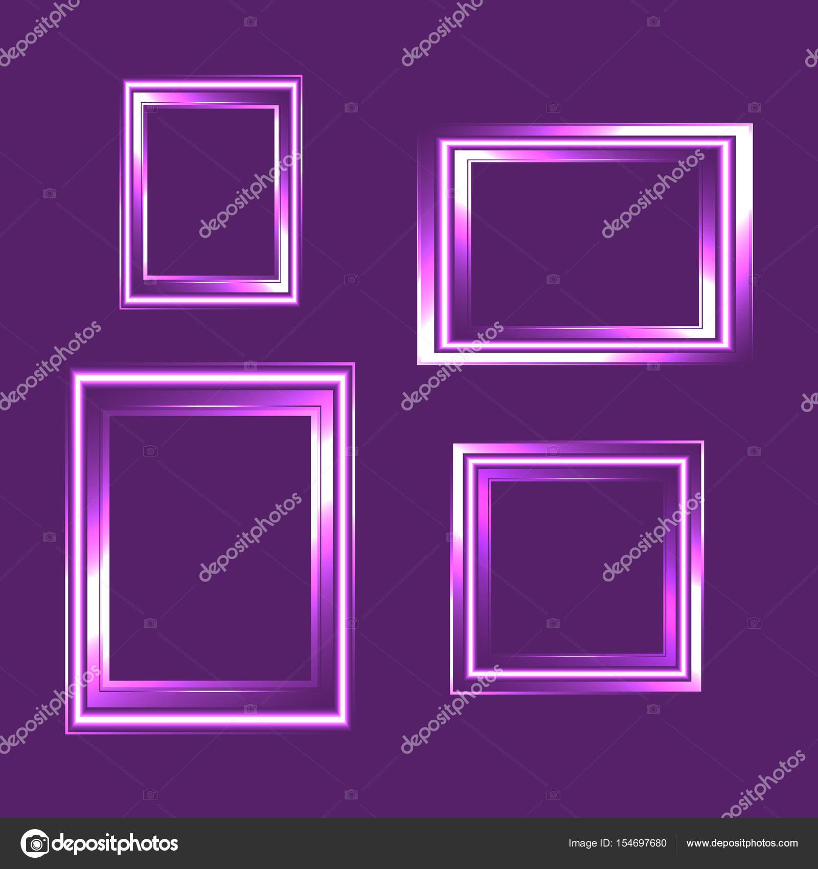 Conjunto de marco de neón aislado sobre fondo púrpura. Composición ...